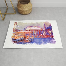 The Pantheon Rome Watercolor Streetscape Rug