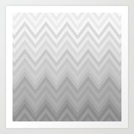 Chevron Fade Grey Art Print