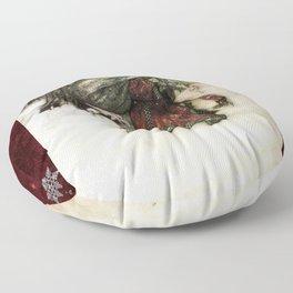 Father Christmas 2, Vintage Arthur Rackham Santa Floor Pillow