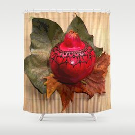Henna Inspired Hand Painted Pomegranate  Shower Curtain