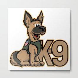 K-9 Dog Cartoon Illustration Metal Print
