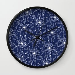 Navy blue white hand drawn floral mandala Wall Clock