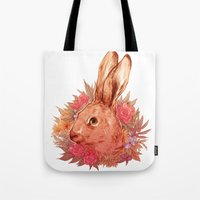 hare Tote Bags featuring Hare by batcii