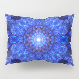 Azure Shield Mandala Pillow Sham