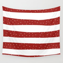 Christmas Simple seamless pattern Snow confetti on White and Red Stripes Background Wall Tapestry