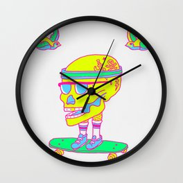 Skull on a skateboard Wall Clock