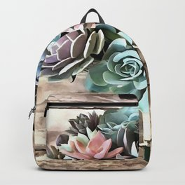 Artistic Succulent Bouquet In Pastel Shades Backpack