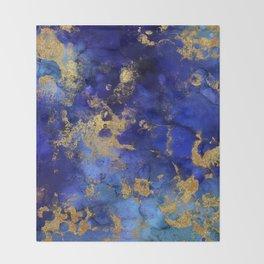 Gold And Blue Indigo Malachite Marble Throw Blanket