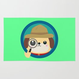 Dog detective with magnifying glass Rug