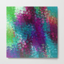 flower pattern abstract background in purple pink blue green Metal Print