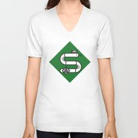 slytherin V-neck T-shirts featuring Slytherin House Crest by Manuja Waldia