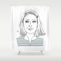 tenenbaum Shower Curtains featuring Margot tenenbaum / The royal Tenenbaum by Colomina Maevi
