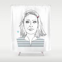 tenenbaum Shower Curtains featuring Margot tenenbaum / The royal Tenenbaum by Colomina Maevi