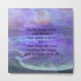 Emily Dickinson hope soul quote Metal Print