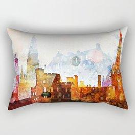 Edinburgh Watercolor Skyline Rectangular Pillow