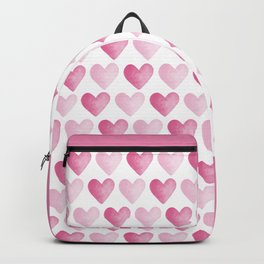 Pink Watercolour Hearts pattern Backpack