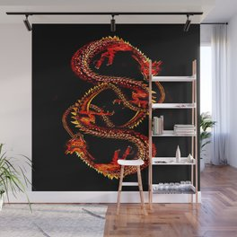 Ouroboro Twin Red Dragons Wall Mural