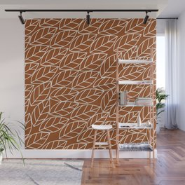 Doodle Leaves Rust and Light Grey (almost white) Wall Mural