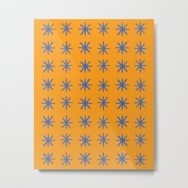 Modern Hand-drawn Minimalist Abstract Stars / Snowflakes Pattern in Bright Bold Tangerine Orange and Cobalt Blue Metal Print