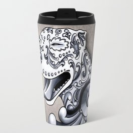 Ornamental Pit Bull - Black and Grey Filigree Pitbull Travel Mug