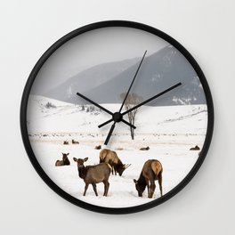Herd of Elk in Wyoming on a Snowy Winter Day Wall Clock