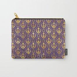 Golden Khanda pattern on violet Carry-All Pouch