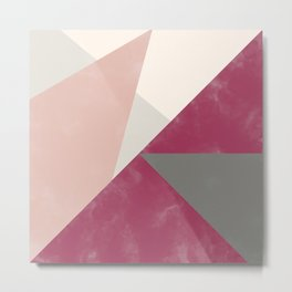 Fall red gray pink watercolor color block Metal Print
