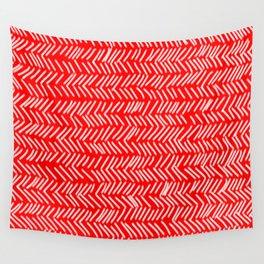 Scarlet Herringbone Lines Wall Tapestry