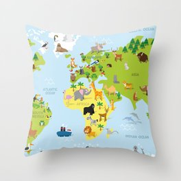 Funny cartoon world map with traditional animals of all the continents and oceans Throw Pillow