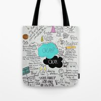 fault Tote Bags featuring The Fault in Our Stars- John Green by Natasha Ramon