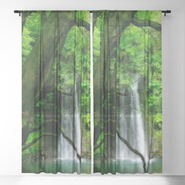 Waterfall in Azores islands Sheer Curtain