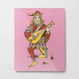 Joker play the Mandolin funny vintage drawing illustration Metal Print