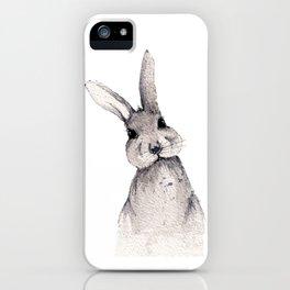 Gray bunny iPhone Case