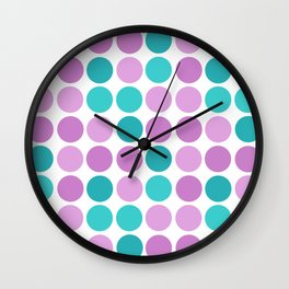 Pattern in pink blue polka dot. Wall Clock