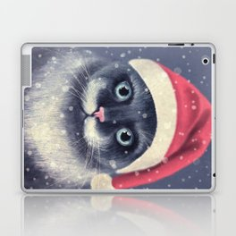 Christmas cat with a mustache Laptop & iPad Skin