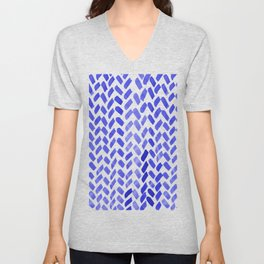 Cute watercolor knitting pattern - blue Unisex V-Neck