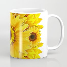 YELLOW SUNFLOWER  CLUSTER WHITE GARDEN ART Coffee Mug