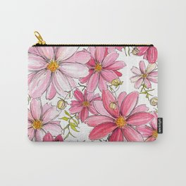 Pink Spring Flower Pattern Carry-All Pouch