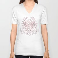 crab V-neck T-shirts featuring Lion Crab by Mike Koubou