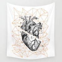 leon Wall Tapestries featuring Geometric Heart by Irene Leon