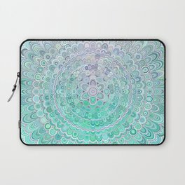 Turquoise Ice Flower Mandala Laptop Sleeve