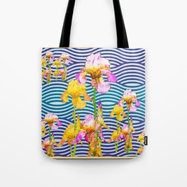 Colorful Iris Water Garden Art Pattern Tote Bag