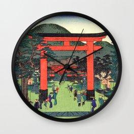 Fushimi Inari Shrine by Hasegawa Sadanobu - Japanese Vintage Ukiyo-e Woodblock Painting Wall Clock