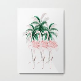 Three Flamingos Metal Print