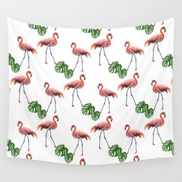 Flamingo & monstera pattern Wall Tapestry