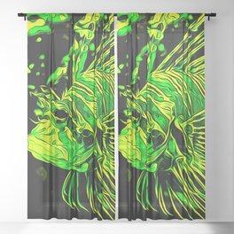 lionfish vector art green Sheer Curtain