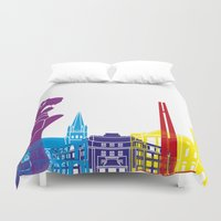 singapore Duvet Covers featuring Singapore skyline pop by Paulrommer
