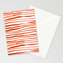 Irregular watercolor lines - orange Stationery Cards