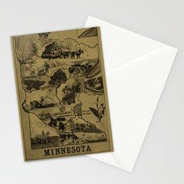 Vintage Minnesota Illustrative Map (1921) - Tan Stationery Cards