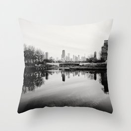 Chicago Skyline from South Pond Throw Pillow